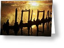 Old Pier At Sunset Greeting Card