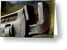 Old Pipe Wrench Greeting Card