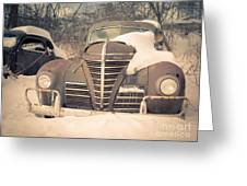 Old Plymouth Classic Car In The Snow Greeting Card