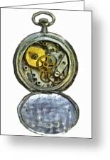 Old Pocket Watch Greeting Card