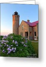 Old Point Mackinac Lighthouse And Lilacs Greeting Card