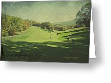Old Postcard Of Golf Buddies At The Homestead Greeting Card