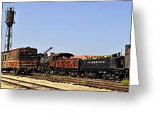 Old Railroad Cars From The Series View Of An Old Railroad Greeting Card