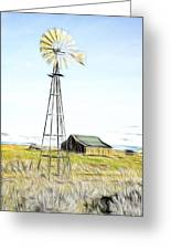 Old Ranch Windmill Greeting Card
