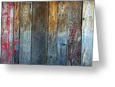 Old Reclaimed Wood - Rustic Red Painted Wall  Greeting Card