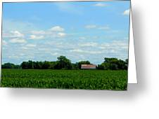 Old Red Barn And Fields Greeting Card