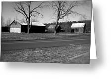 Old Red Barn In Black And White Greeting Card