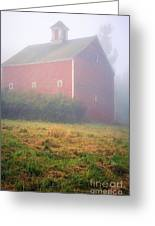 Old Red Barn In Fog Greeting Card