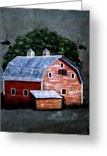 Old Red Barn On Slate Greeting Card