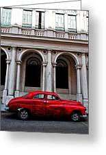 Old Red Car In Havana Greeting Card