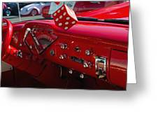 Old Red Chevy Dash Greeting Card
