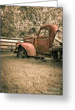 Old Red Farm Truck Greeting Card