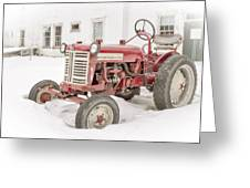 Old Red Tractor In The Snow Greeting Card by Edward Fielding