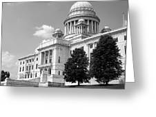 Old Rhode Island State House Bw Greeting Card