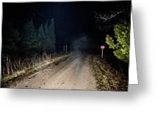 Old Road Night Fog Greeting Card