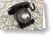 Old Rotary Phone On Money Background Greeting Card