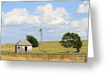 Old Rush County Farmhouse With Windmill Greeting Card