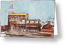 Old Rustic Schnitzer Steel Building With Crane And Ship Greeting Card by Asha Carolyn Young
