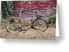 Old Rusty Bicycle With Basket Of Lavender Flowers Greeting Card