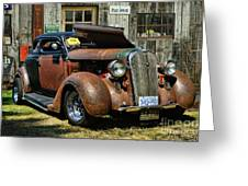 Old Rusty Car At The Old Shop  Ca5083a-14 Greeting Card