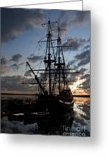 Old Sailboat At Sunset Greeting Card