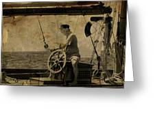 old sailor A vintage processed photo of a sailor sitted behind the rudder in Mediterranean sailing Greeting Card