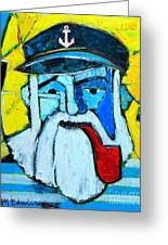 Old Sailor With Pipe Expressionist Portrait Greeting Card
