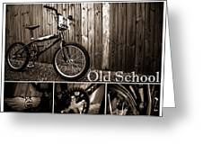 Old School Bmx - Pk Collage Bw Greeting Card by Jamian Stayt