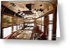 Old School Bus In Motion Hdr Greeting Card