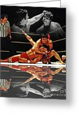 Old School Wrestling Headlock By Dean Ho On Don Muraco With Reflection Greeting Card