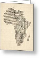 Old Sheet Music Map Of Africa Map Greeting Card by Michael Tompsett