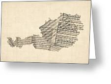Old Sheet Music Map Of Austria Map Greeting Card