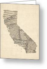 Old Sheet Music Map Of California Greeting Card