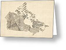 Old Sheet Music Map Of Canada Map Greeting Card