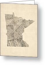 Old Sheet Music Map Of Minnesota Greeting Card by Michael Tompsett