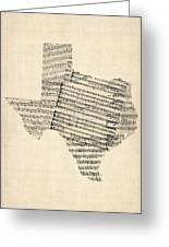 Old Sheet Music Map Of Texas Greeting Card by Michael Tompsett
