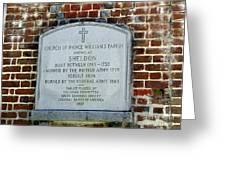 Old Sheldon Church 4 Greeting Card