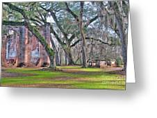 Old Sheldon Church Angled With Tombs Greeting Card