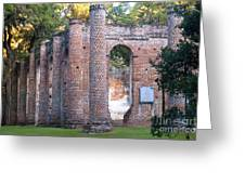 Old Sheldon Church Front Left Greeting Card