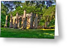 Old Sheldon Church Ruins In South Carolina Greeting Card by Reid Callaway