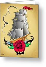 Old Ship Tattoo  Greeting Card
