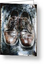 Old Shoes Frozen In Ice Greeting Card