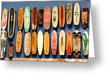 Old Skateboards On Display Greeting Card