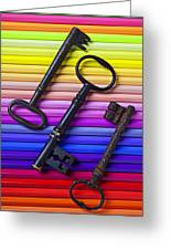 Old Skeleton Keys On Rows Of Colored Pencils Greeting Card