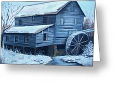 Old Snow Covered Mill Greeting Card by Glenda Barrett