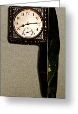 Old Square Clock Greeting Card