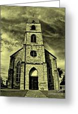 Old St. Mary's Church In Fredericksburg Texas In Sepia Greeting Card