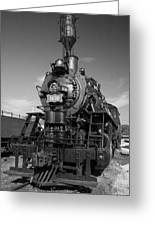 Old Steam Engine Black And White Greeting Card