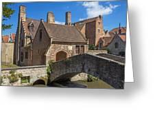 Old Stone Bridge In Bruges  Greeting Card