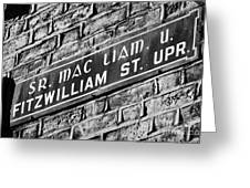 Old Style Green And White Fitzwilliam Street Upper Sign In Irish And English In Dublin On Red Brick Wall Greeting Card